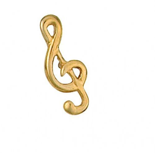 Treble Clef Tie Tack 9ct Yellow Gold Made To Order in Jewellery Quarter B''ham